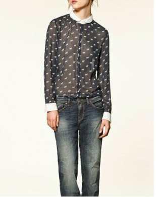 2012-Vintage-PeterPan-Collar-Shirt-Little-Horse-Prints-Chiffon-Blouses-Women-s-Ladies-Fashion-Casual-Long