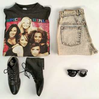 Spice Girls Vintage T-shirt, 1980s Acid Wash Jeans, Black Vintage Booties & 1950s Inspired Sunglasses #metropolisvintage #spicegirls #booties #vintage #acidwash #sunglasses #nyc