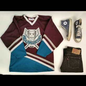 """Street Hockey"" 1980s Head Hunters Hockey Jersey, 1990s Made In USA Converse Chuck Taylors, 1980s Levi 501 Denim Jeans #metropolisvintage #metropolis #levi501 #ootd #hockey #hockeyjersey #vintageclothing #vintage #converse #madeinusa #chucktaylors #1980s #1990s #streethockey #nyc"