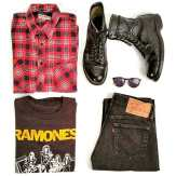 """""""Grunge"""" 1980s Red Flannel Shirt, 1 90s US Military Boots, Mid 1980s Ramones Concert T-Shirt, 1980s Levi 501 Jeans #grunge #1980s #theramones #ramones #concertshirt #vintageclothing #vintage #metropolisvintage #levi501 #militaryboots #ootd #90s"""