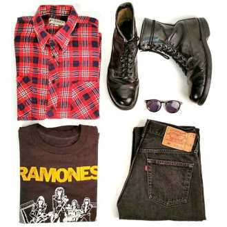 """Grunge"" 1980s Red Flannel Shirt, 1 90s US Military Boots, Mid 1980s Ramones Concert T-Shirt, 1980s Levi 501 Jeans #grunge #1980s #theramones #ramones #concertshirt #vintageclothing #vintage #metropolisvintage #levi501 #militaryboots #ootd #90s"