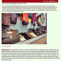 """METROPOLIS named one of """"The 7 Best Vintage Stores In NYC"""" today by GOTHAMIST! #metropolisvintage #metropolisnycvintage #gothamist"""