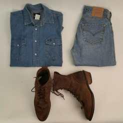 """""""The Romé"""" 1980s Wrangler Denim Snap Shirt, 1980s Levi 501 Denim Jeans, 1980s Packer Boots #packerboots #wrangler #denim #Levi #vintage #vintageclothing #metropolisvintage #1980s #snapbuttons #levi501#romé"""