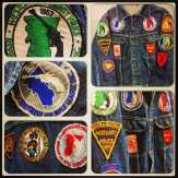 Vintage Gun Club denim jacket - covered in 1950s and 60's pistol and cop patches. Check it out! #metropolis #metropolisvintage #gunclub #biker #1950s #denim