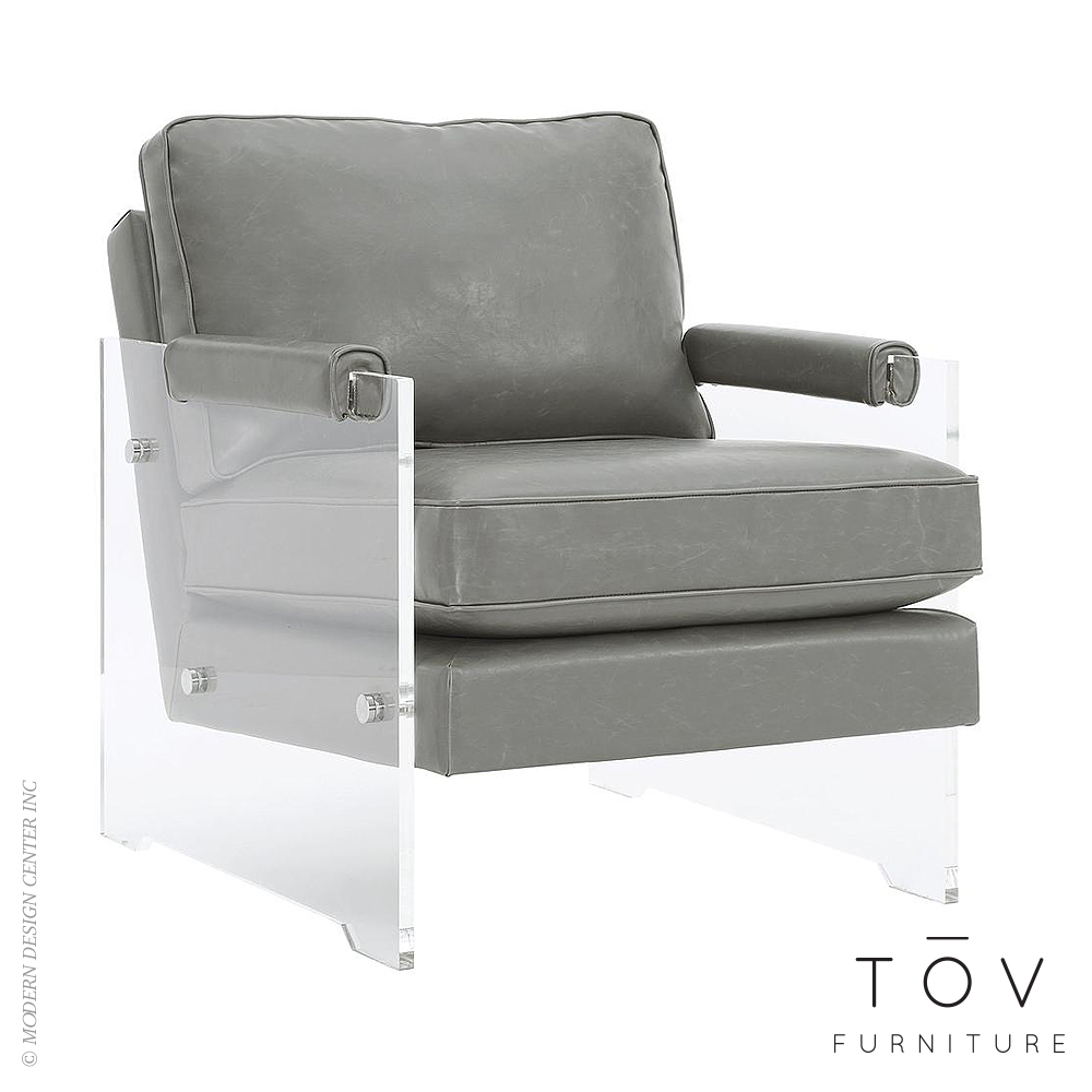Lucite Chair Serena Grey Eco Leather Lucite Chair Tov Furniture Metropolitandecor