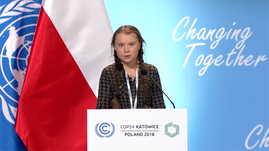 """Greta Thunberg alle Nazioni Unite, in Polonia – Photo Credit: www.lifegate.it"" greta thunberg"