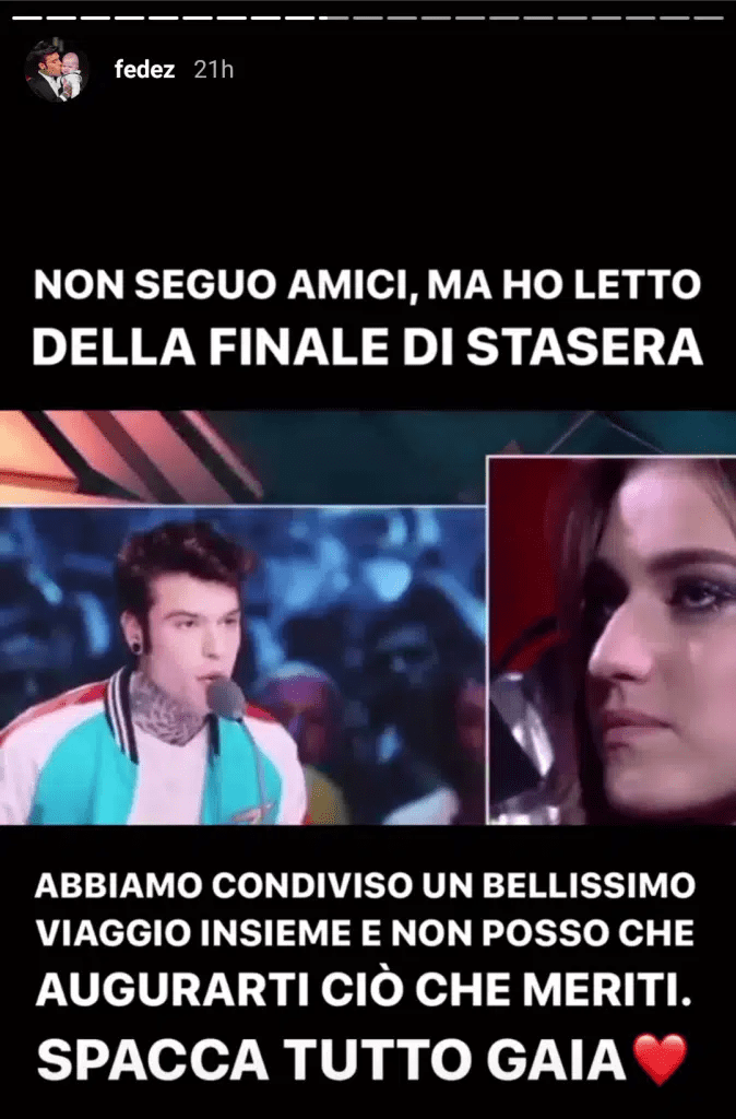 Fedez supporta Gaia sui social media - Web