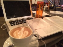 My dark mocha and econ textbook. Which do I like better?