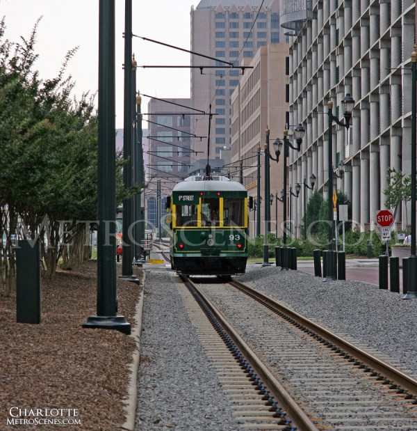 Charlotte Skyline with Trolley