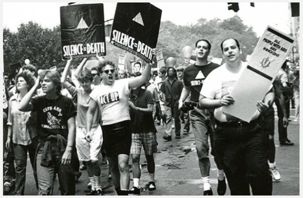 Eugene Gordon, ACT UP activists at Pride March, 1988