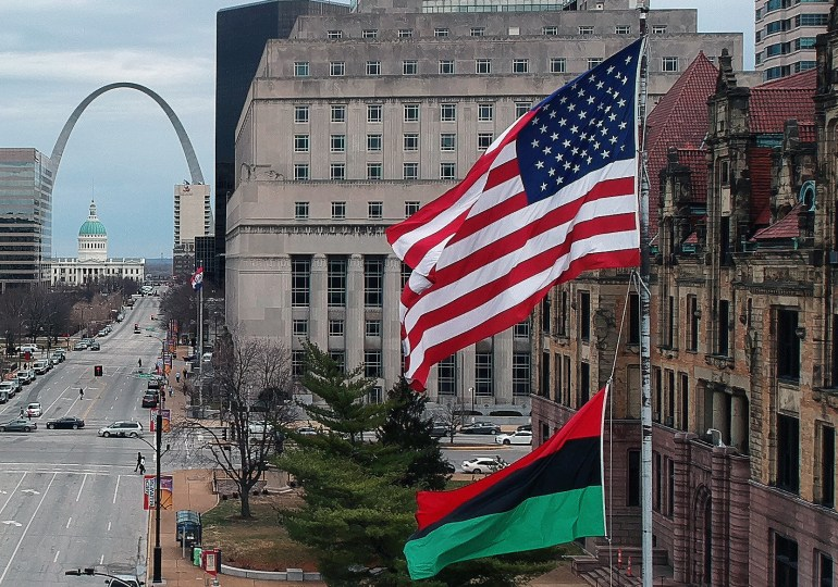 Pan African flag is raised at City Hall, noting Black History Month