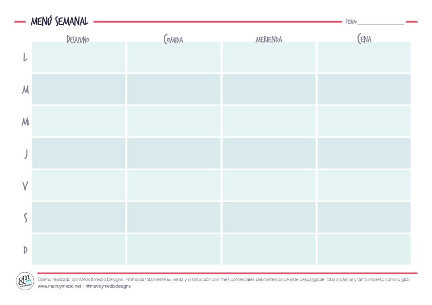 Planificador se menú semanal diseñado por Metro&medio Designs