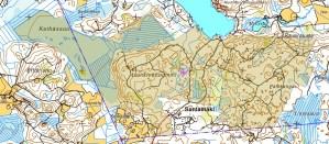 Lopullinen, rajattu karttataso Keihäsjärven metsästysalueesta