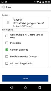 Nyt NFC linkki on valmis kirjoitettavaksi tarralle
