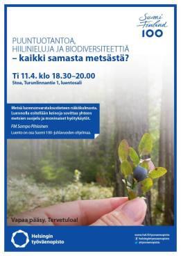 Puuntuotantoa, hiilinieluja ja biodiversiteettiä - kaikki samasta metsästä -luento