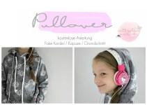 Pullover free Schnittmuster Anleitung Kapuze kordel nähen