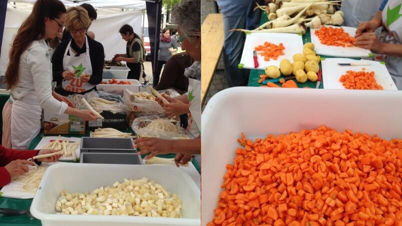 Jede Menge Spargel, Möhren, Kartoffeln und Pastinaken mussten geschält werden, bevor sie bei bei Wam Kat im Topf landeten.