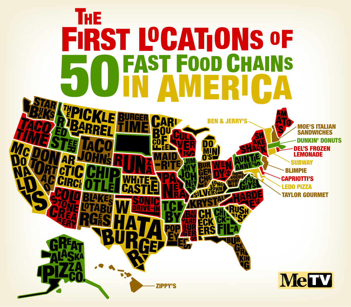Infographic The First Locations Of 50 American Fast Food