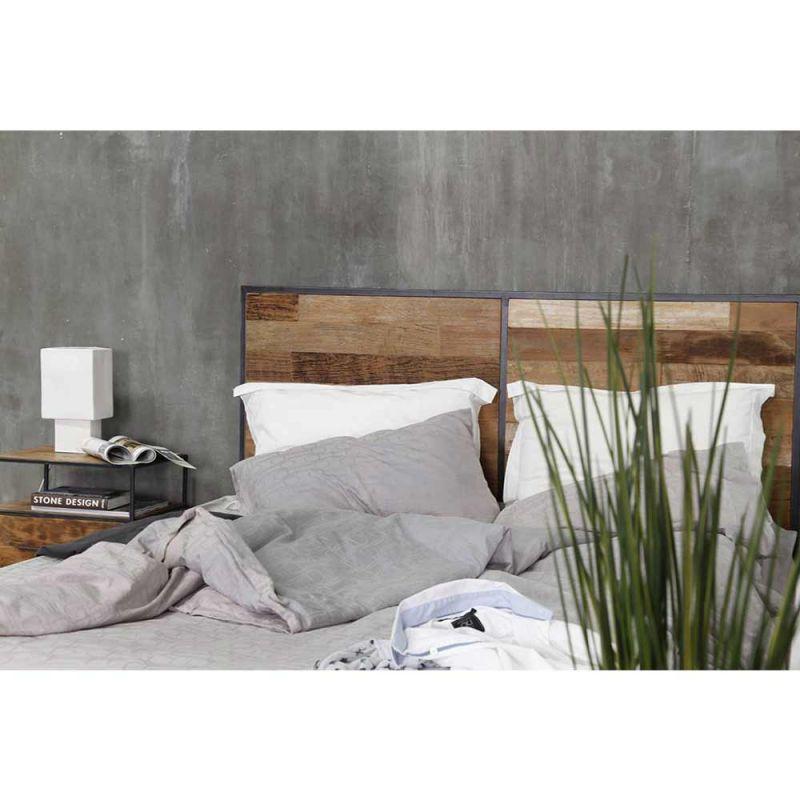 tete de lit teck et metal recycles urban 180cm