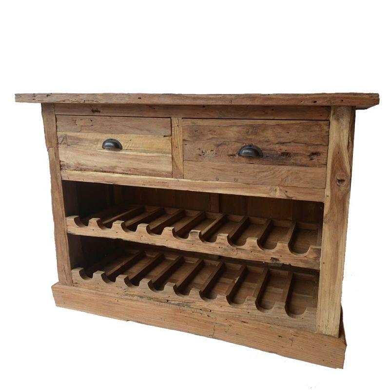 meuble teck rangement bouteilles bois recycle 120cm