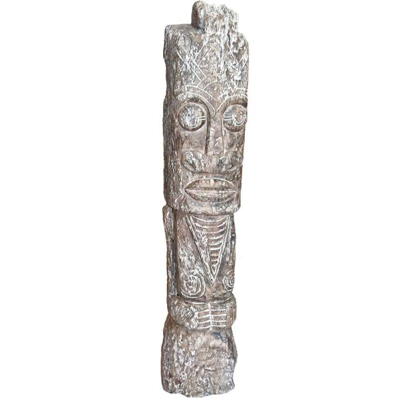Grand Totem En Bois Sculpt 220cm De Hauteur De Style