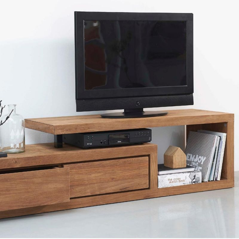 meuble tv teck recycle fissure 175cm