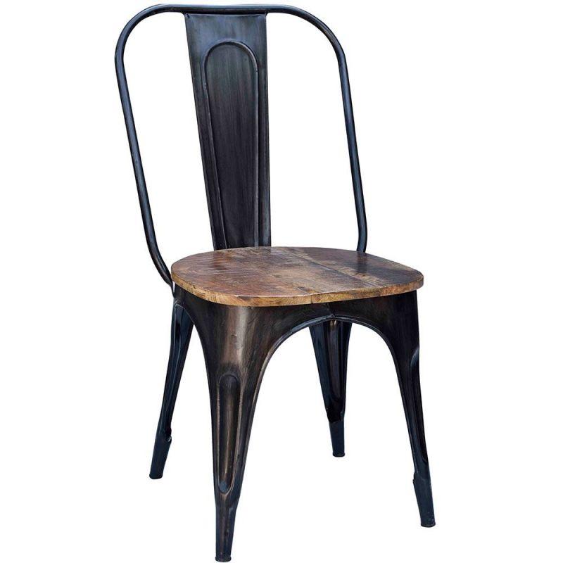 chaise industrielle metal et bois iron 4 couleurs