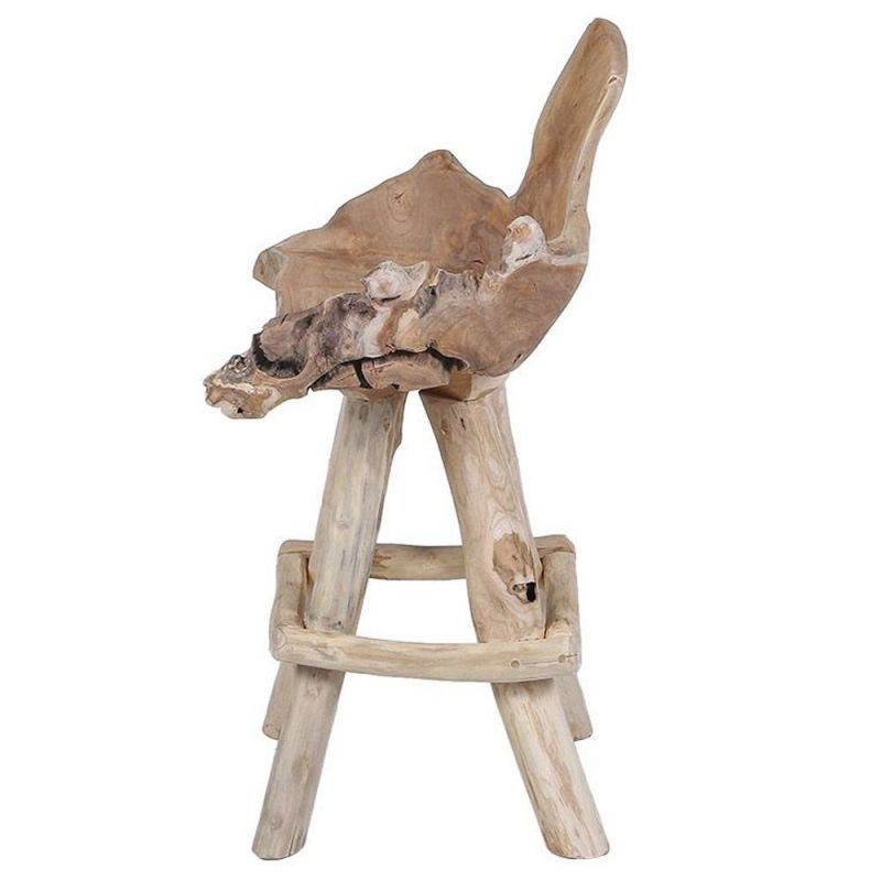 chaise de bar racine de teck racine 70cm 4 pieds
