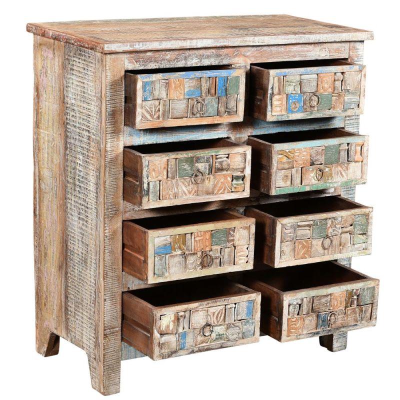 commode indienne mosaique bois mozaik 81cm
