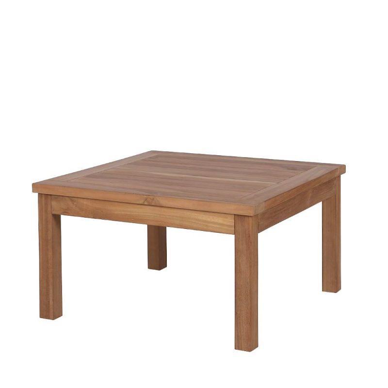 table basse exterieur bois de teck carree 70cm
