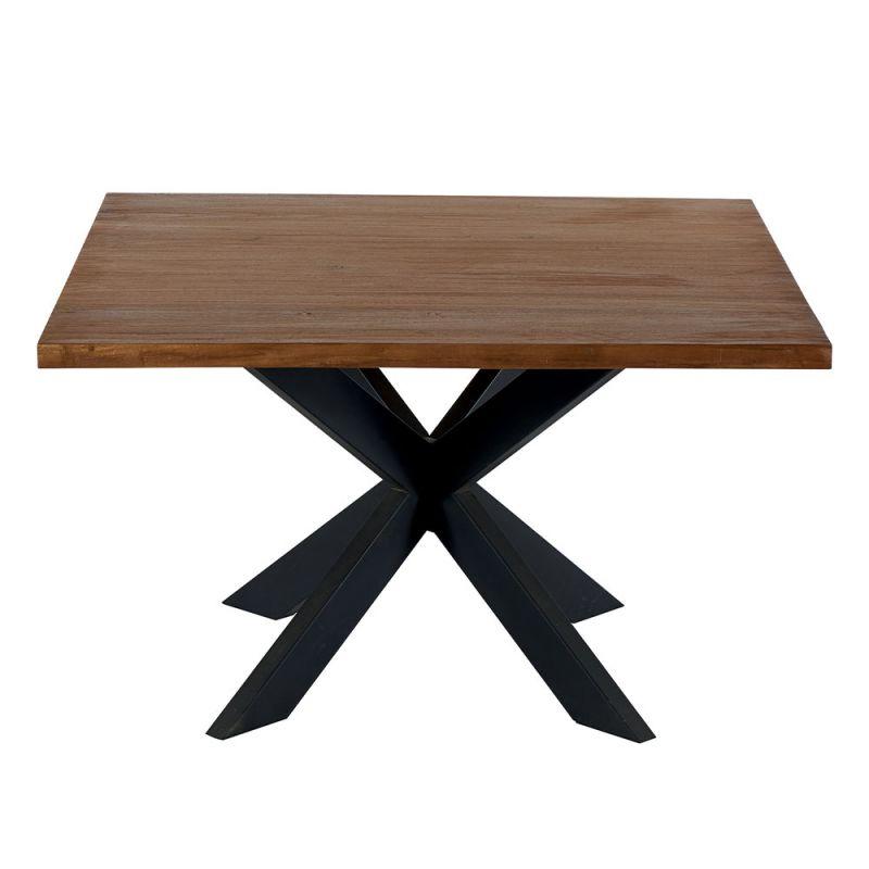 table carree teck massif et metal indus 130cm