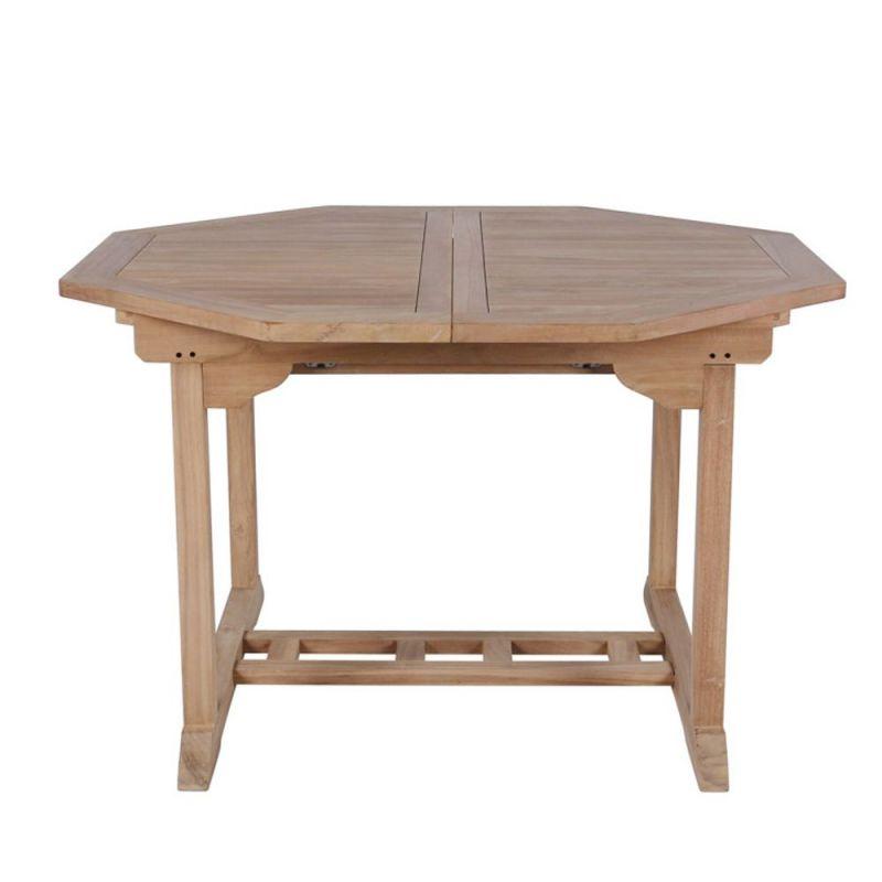 table de jardin en teck massif de forme octogonale avec allonges 120 180cm