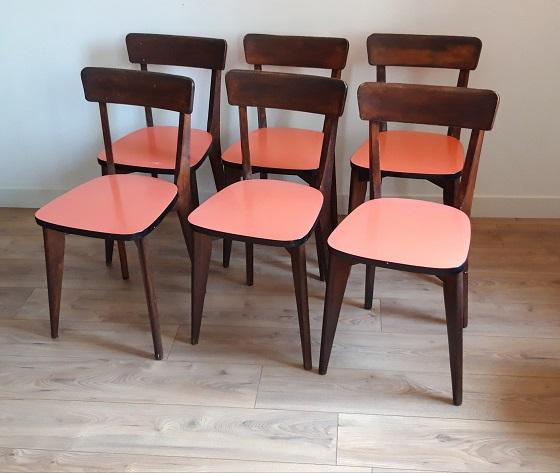 chaises formica bois lotde 6 retro labo
