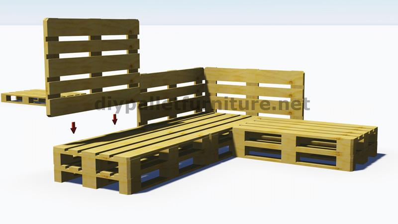 Instructions et plans 3D de la faon de faire un canap pour le jardin avec des palettesMeuble