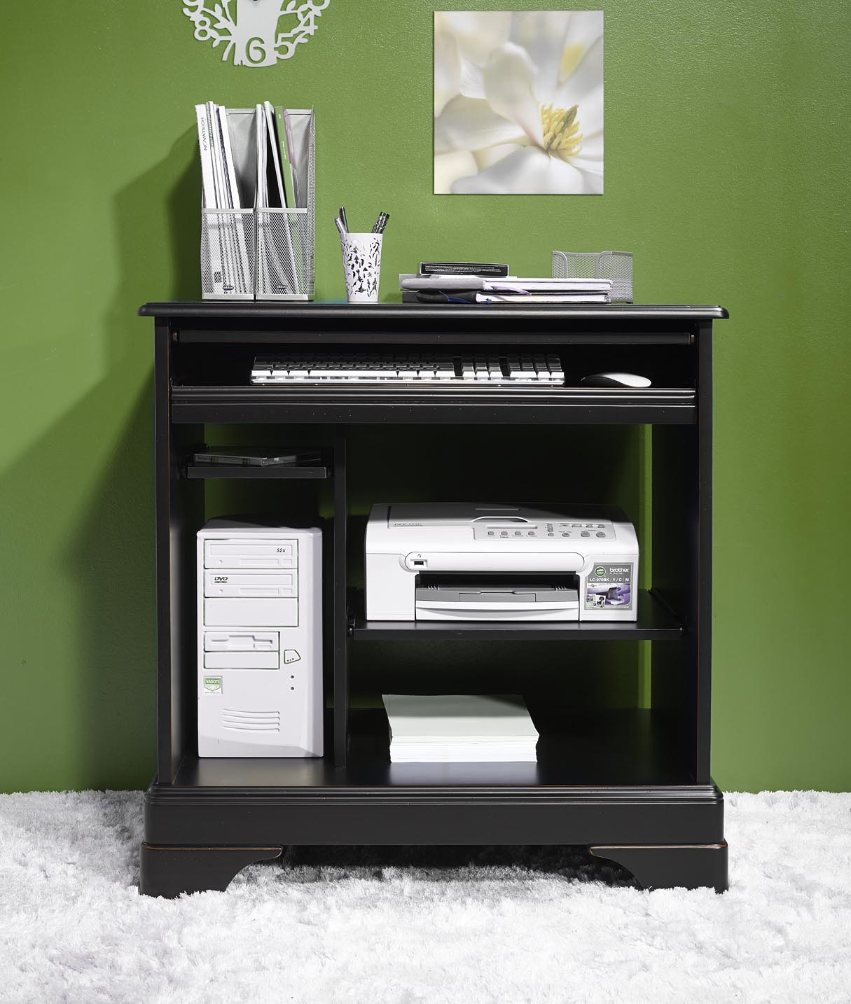bureau informatique en merisier de style louis philippe finition noir patine et use meuble en merisier massif