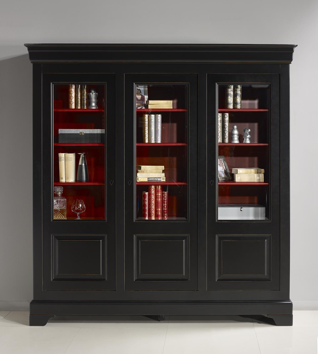 Bibliotheque Portes Flore Realisee En Merisier Massif De Style Louis Philippe Patine Noir Et Rouge L