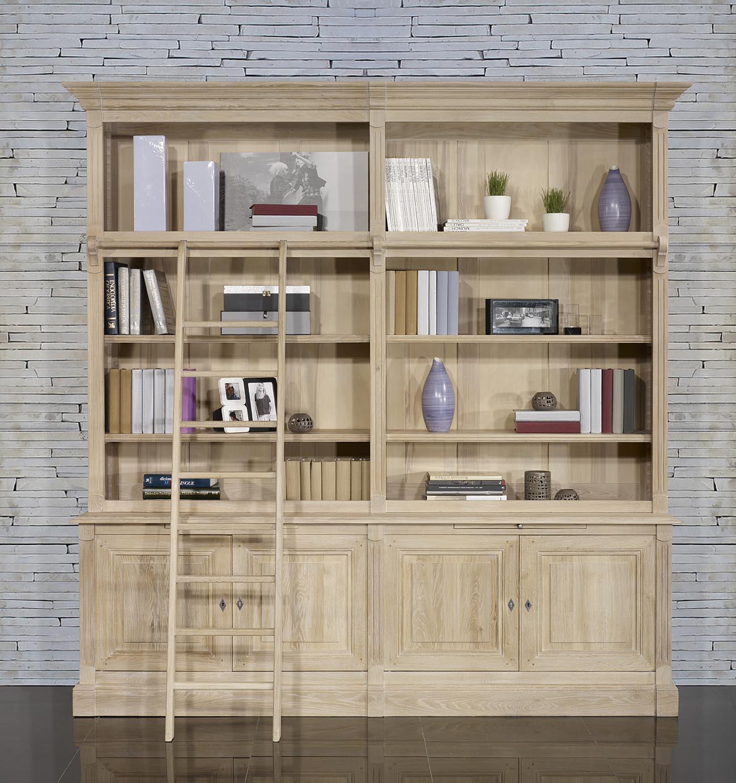bibliotheque 2 corps 4 portes realisee en chene massif de style directoire avec echelle disponible 1 seulement finition chene brosse blanchi