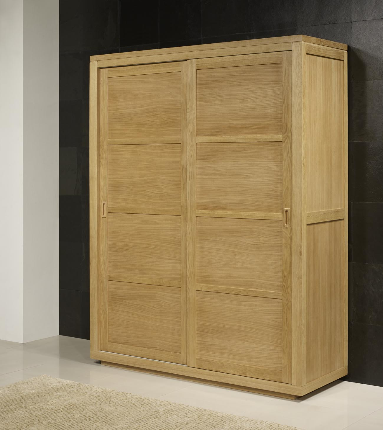 armoire 2 portes coulissantes julien realisee en chene de ligne contemporaine