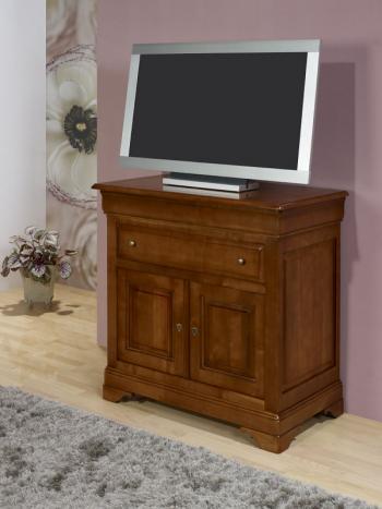 meuble tv 2 portes amandine realise en merisier massif de style louis philippe meuble en merisier massif