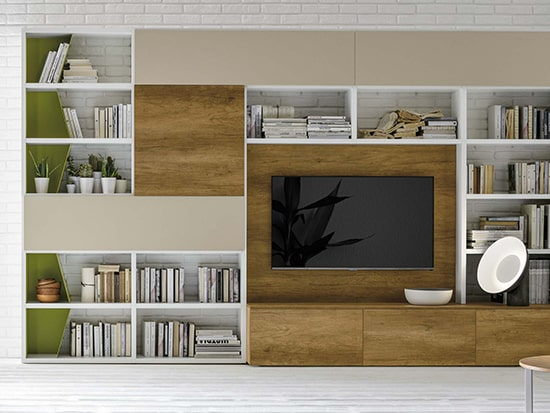 meuble tv bibliotheque avec secretaire