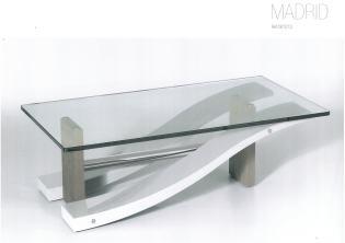 table basse rectangulaire madrid dessus verre laque et bois Meubles DUQUESNOY Frelinghien Nord Lille