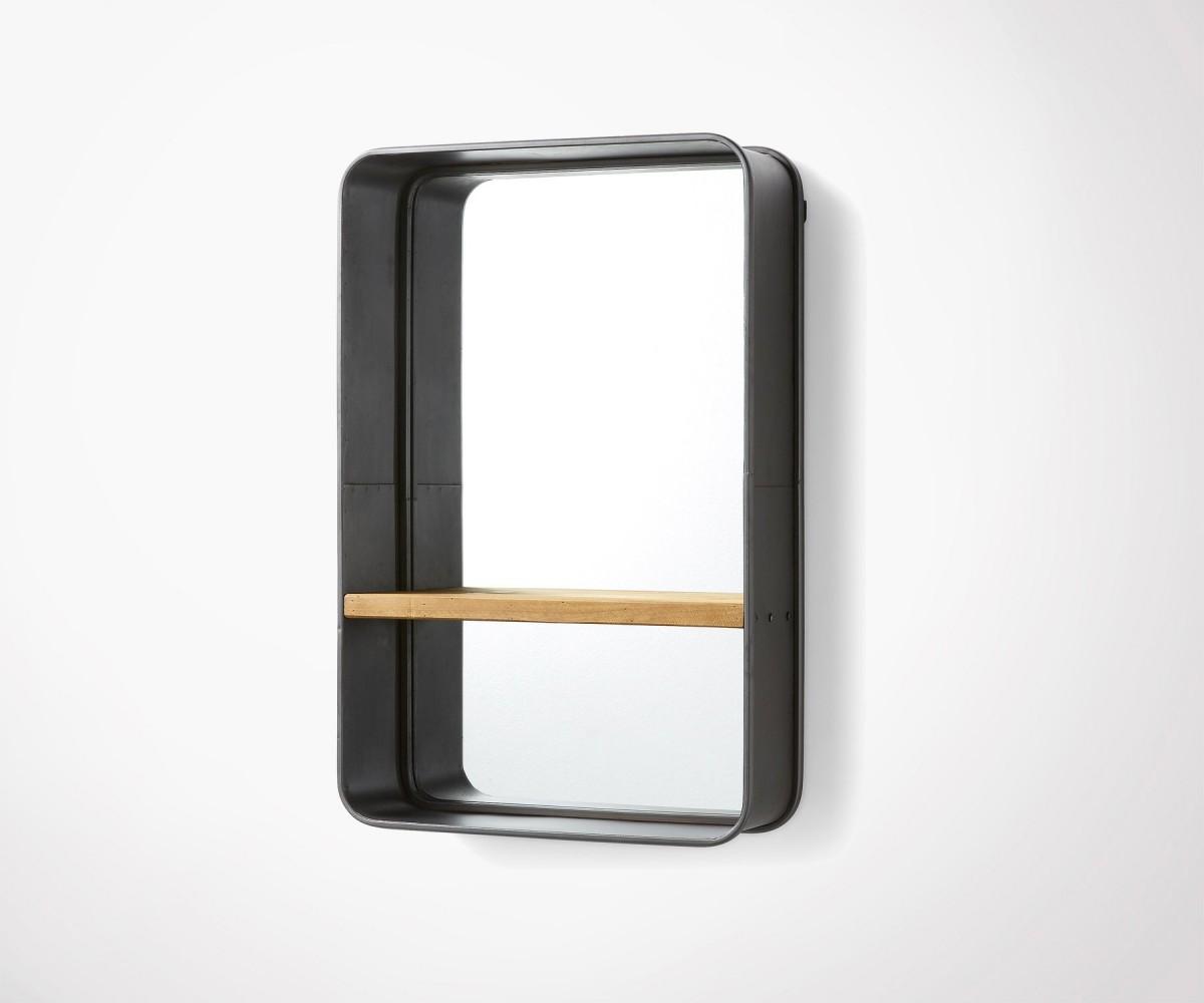 Agreable Miroir Métal Et Bois Avec étagère Pour Salon Ou Salle De Bain