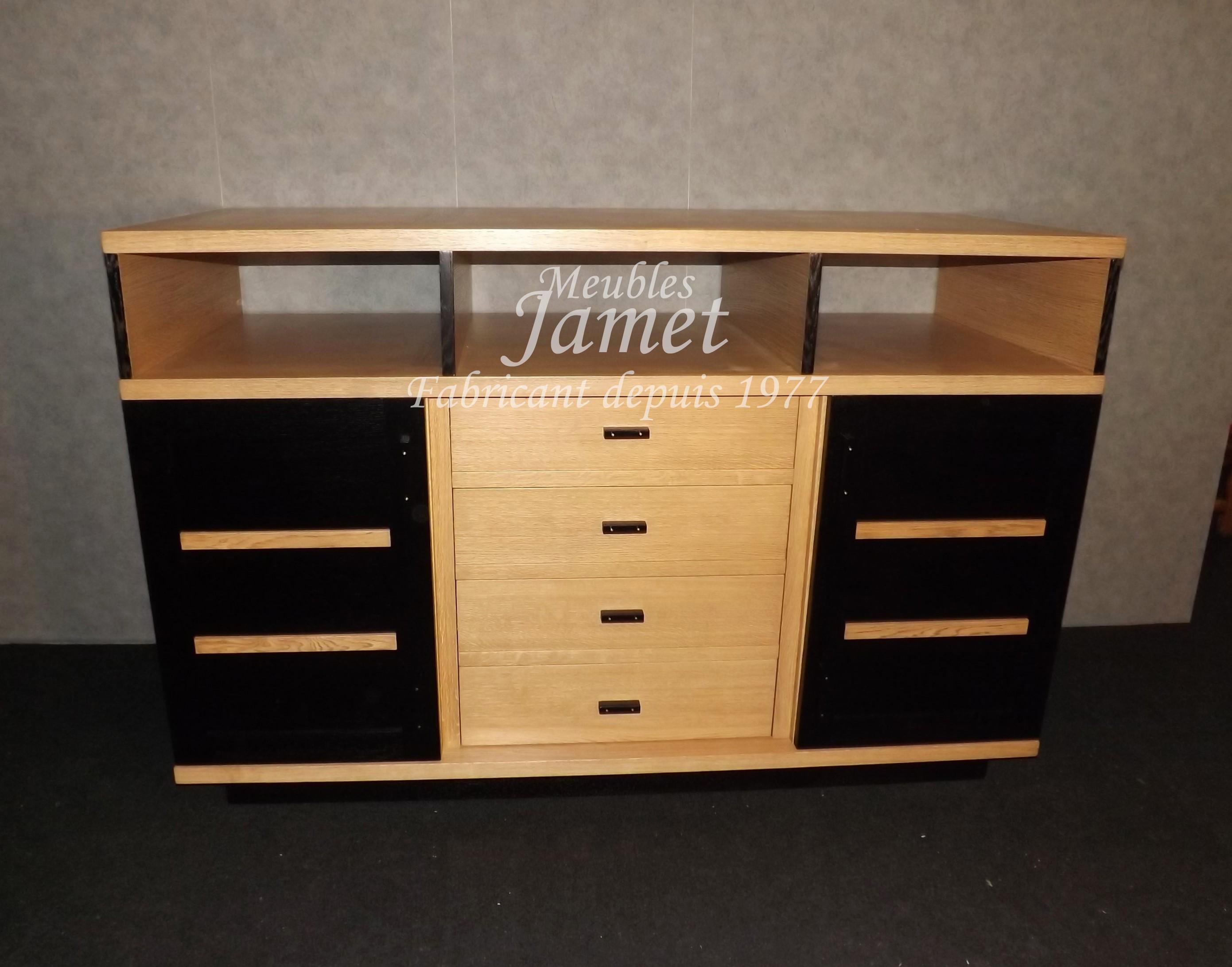 meuble tv hifi design noir et boise