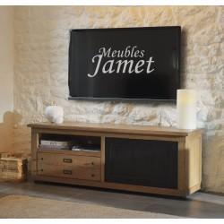 meuble tv style atelier noir en chene