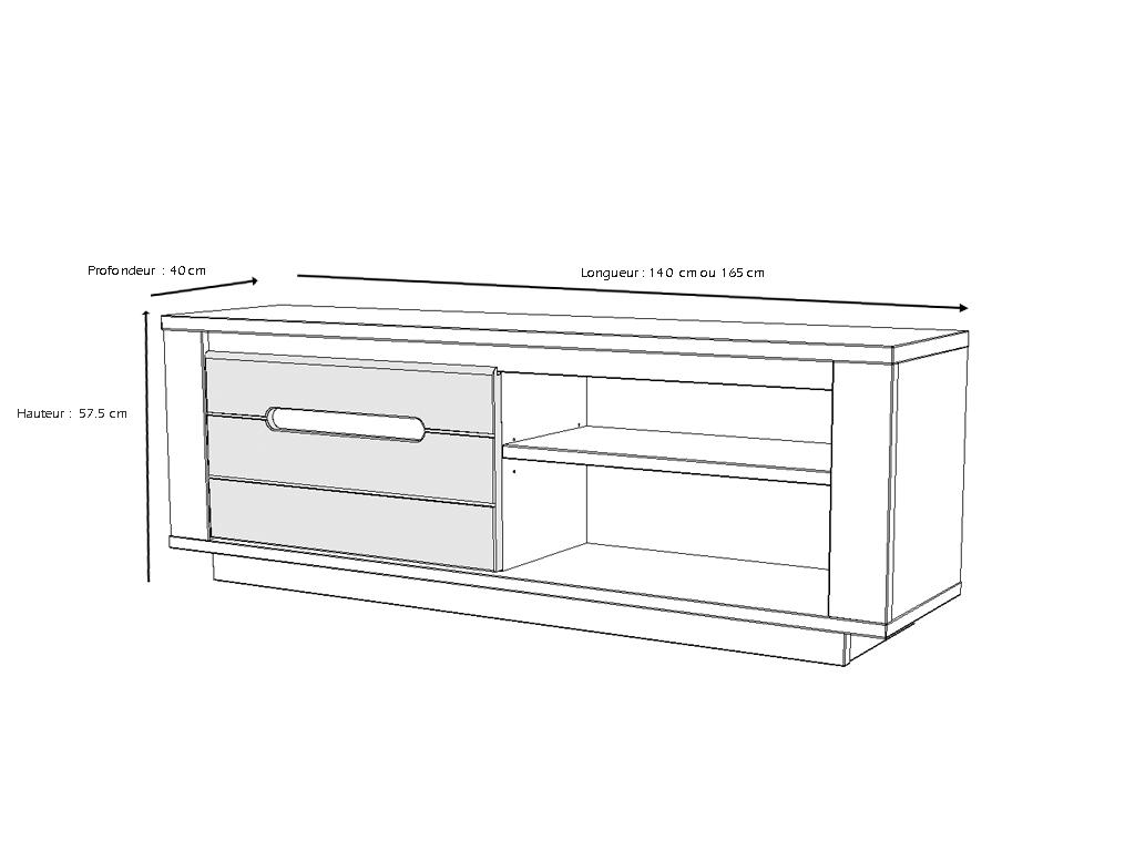 meubles tv himalaya l165 argile blanc