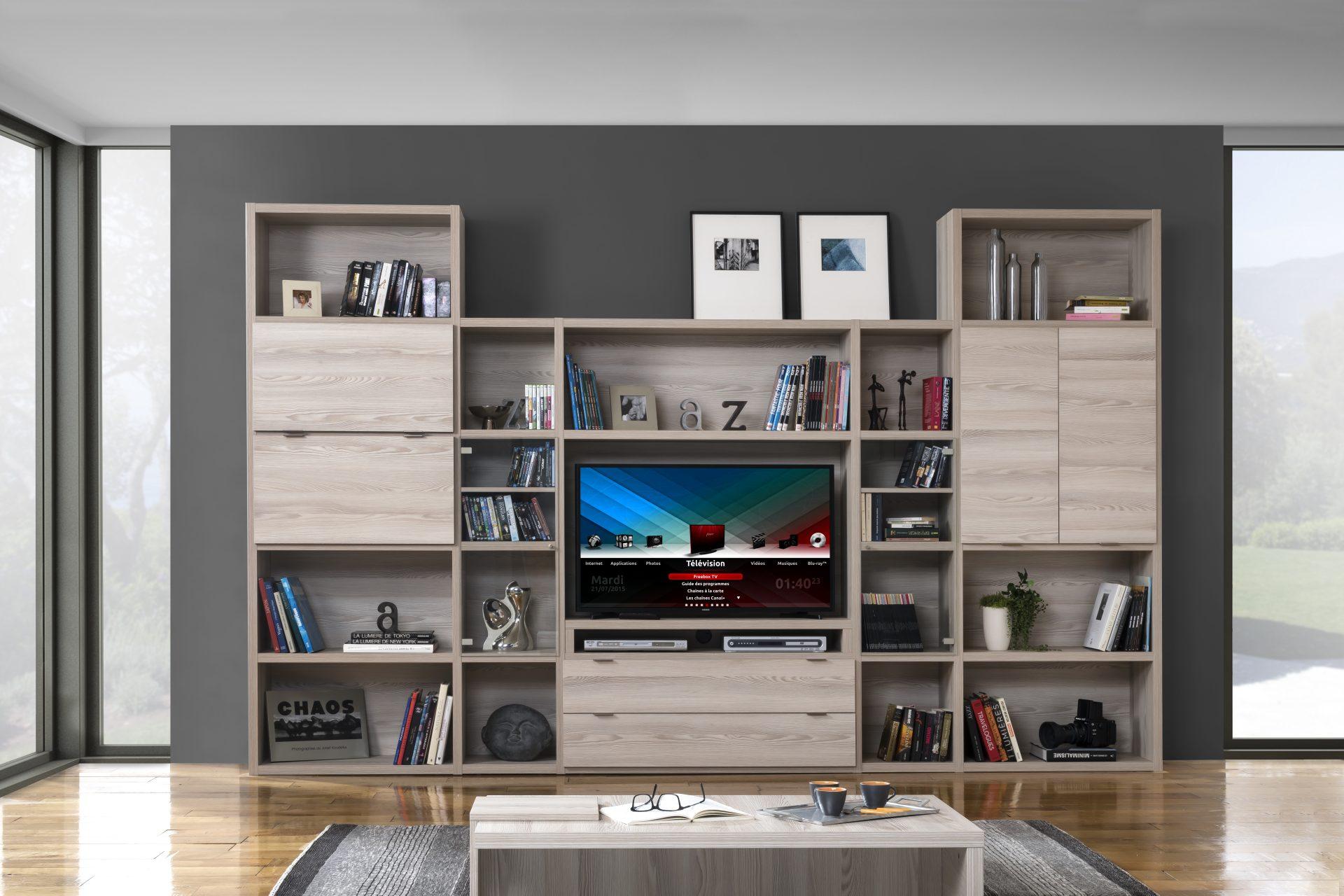 bibliotheque modulable meuble tv