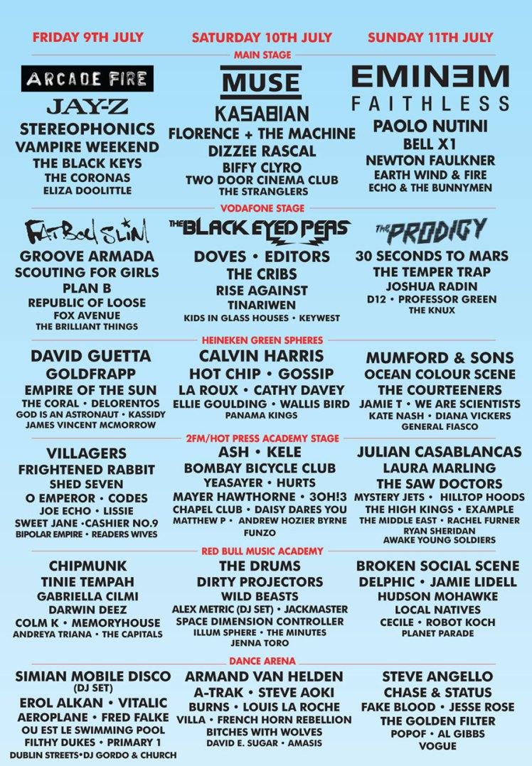 Lineup Oxegen 2010