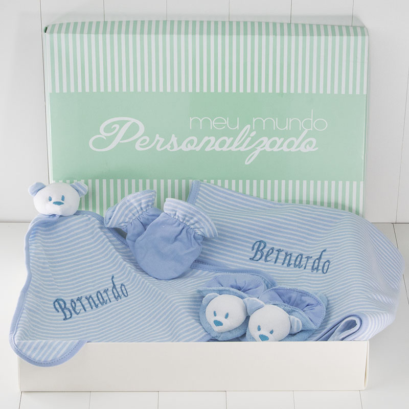 Kit Bebe Dupla Face Azul – com bordado