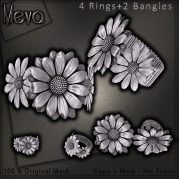 Meva Daisy Bangle + Rings Silver Vendor