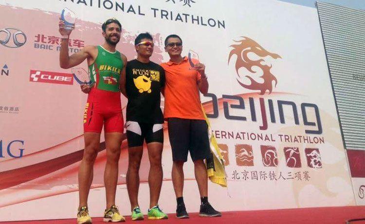 Cornelio el podium del Triatlon de Beijing 2015